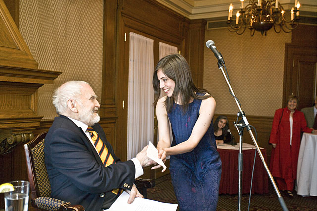 Megan Hepburn receives award in Quebec City, May 2010