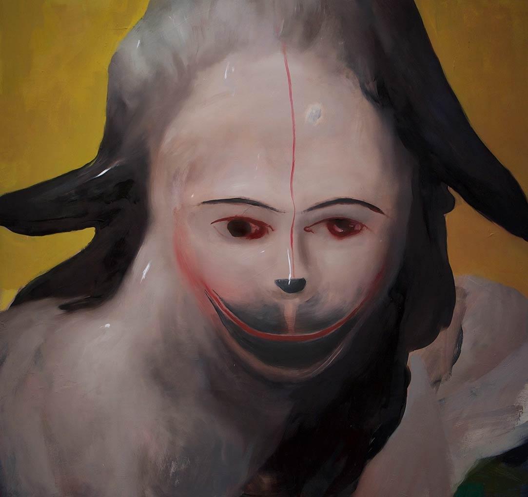 """Monkey, 30"""" x 31"""", huile sur toile, 2016"""