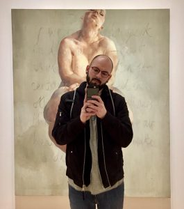 Jason standing in front of a Jenny Saville painting at The Scottish National Gallery, Edinburgh