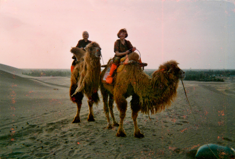 Nancy Petry (right) in the Gobi desert, in May 2010.